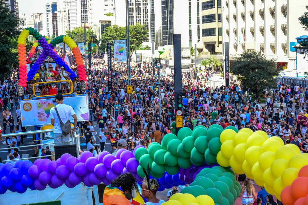 Sao Paulo, Brazil - June 18, 2017: LGBT Pride parade of Sao Paulo Brasil 2017 gays, lesbian, flags and crowd