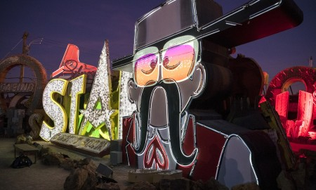 """Preview of the Neon Museum's """"Brilliant!"""" show at the Neon Museum in Las Vegas on Wednesday, Jan. 31, 2018. The show features digital projection recreations of the lighting on some of Las Vegas' most famous neon signs. CREDIT: Mark Damon/Las Vegas News Bureau"""
