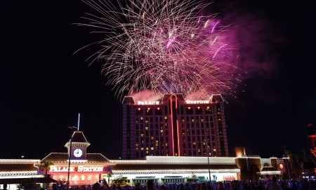 Fireworks light up the sky as Palace Station celebrates its 40th birthday and kicks off the 4th of July weekend Friday, July 1, 2016. CREDIT: Sam Morris/Las Vegas News Bureau