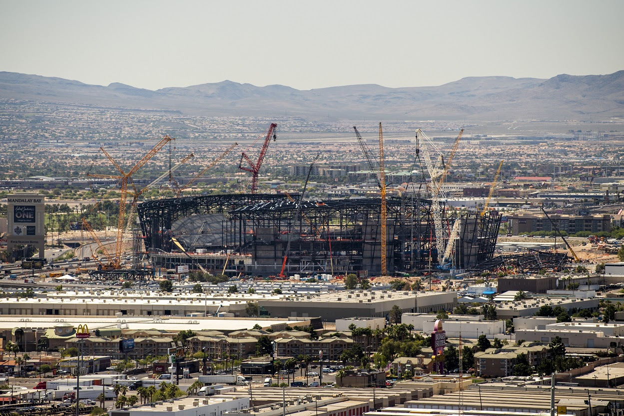 The Las Vegas Stadium is seen under construction in this view from the Apex Social Club in the Palms Resort Las Vegas during an announcement about the Mitsubishi Motors Las Vegas Bowl 2020 football game at the Apex Social Club in the Palms Resort Las Vegas on Tuesday, June 4, 2019. Officials announced that the 2020 Las Vegas Bowl will be played at the Las Vegas Stadium between a Pac-12 Conference team and either an SEC or Big Ten Conference team. (Mark Damon/Las Vegas News Bureau)