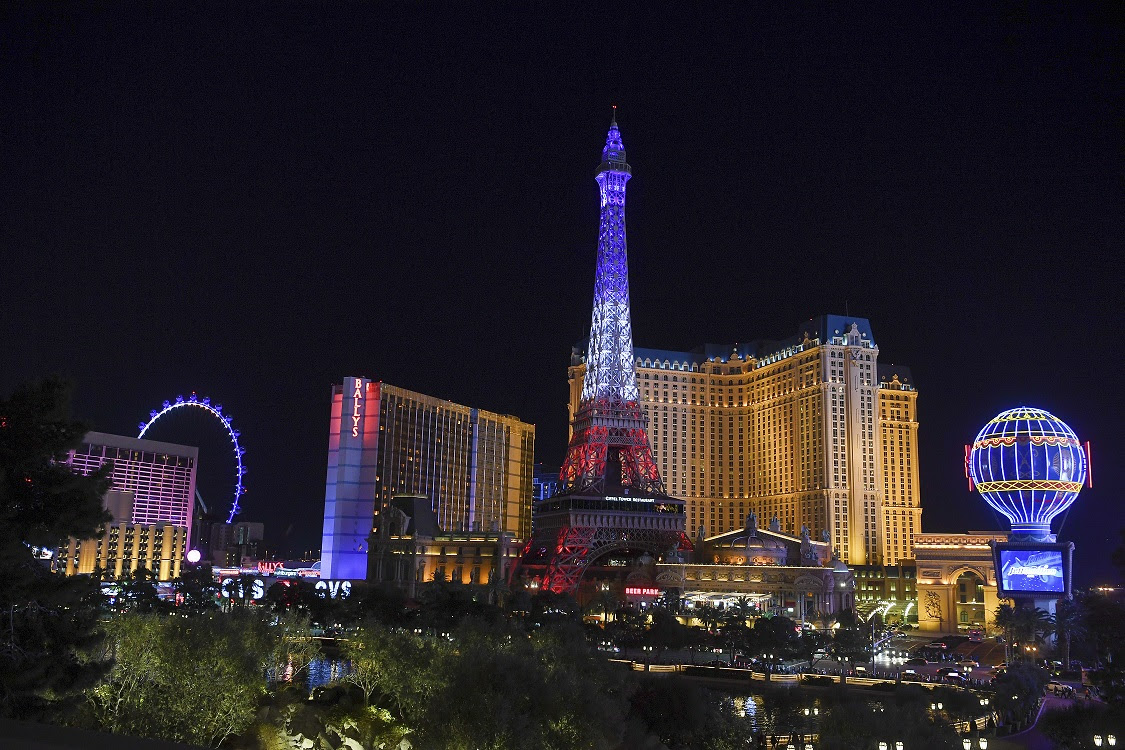 The Paris Las Vegas Eiffel Tower displays its new light show on its 20th anniversary Wednesday, February 27, 2019. The new nightly light show, inspired by the Eiffel TowerÕs illuminations in France, will occur every half hour from sunset to midnight.  (Sam Morris/Las Vegas News Bureau)