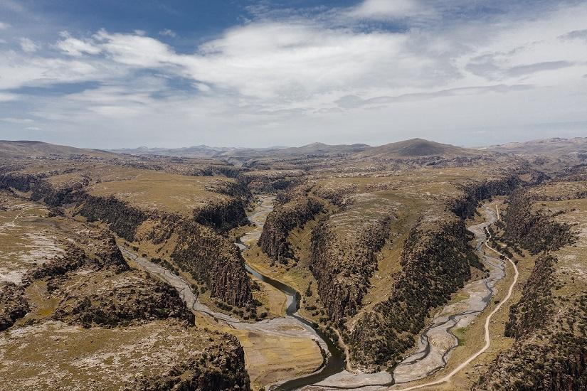 Vista aérea de los Tres Cañones de Suykutambo