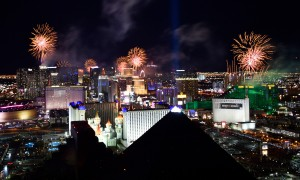 Fireworks?erupt?over?the?Las?Vegas?Strip?seen looking?north?from?the?Skyfall Lounge a top the Delano Las Vegas Tuesday, Jan. 1, 2019, in Las Vegas. CREDIT: David Becker/Las Vegas News Bureau