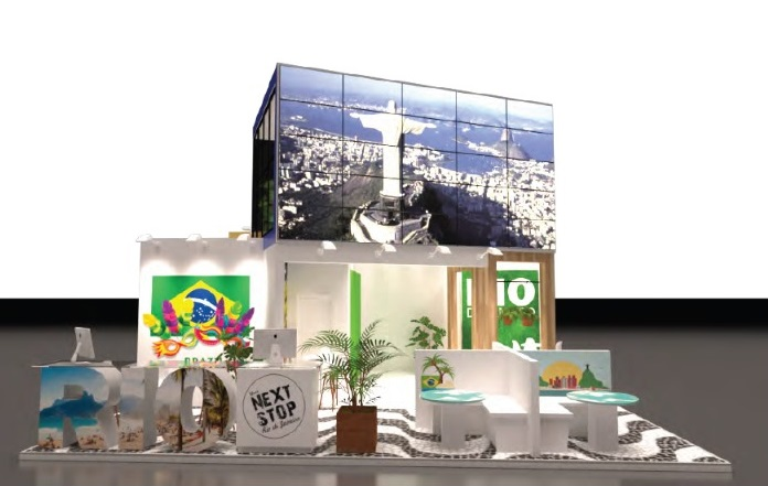 Imagem ilustrativa do estande da Setur-RJ na Fitur 2020