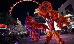 Lohan School of Shaolin performs the the lion dance during the celebration of the Lunar New Year at The LINQ Promenade Wednesday, Feb. 6, 2019, in Las Vegas. Caesars Entertainment hosted the Year of the Pig festivities during a four-day spring festival including traditional lion dances, dinning specials and other live entertainment. (David Becker/Las Vegas News Bureau)
